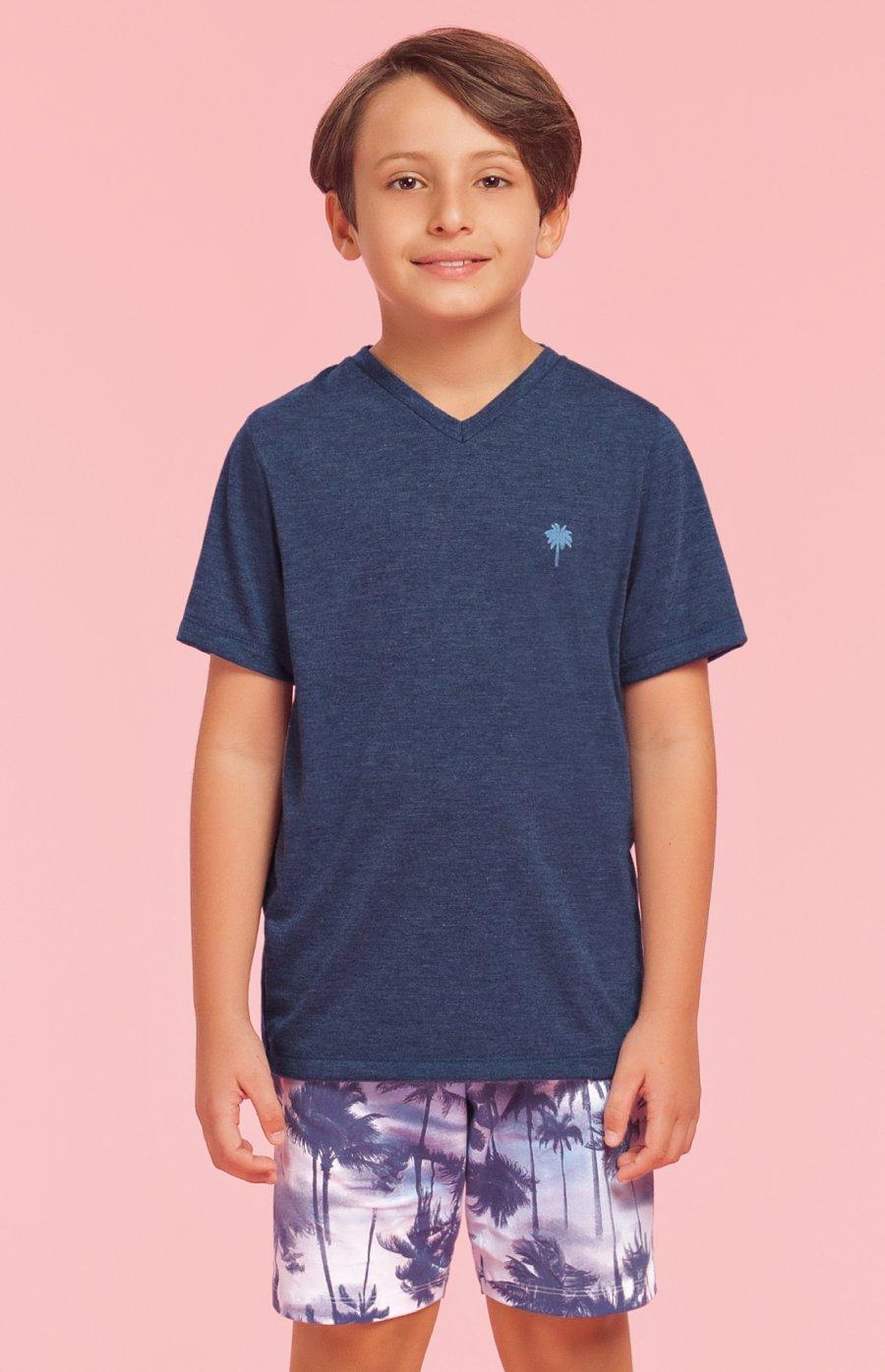 Pijama Infantil Masculino 1/2 Malha Tropical Verão 2019
