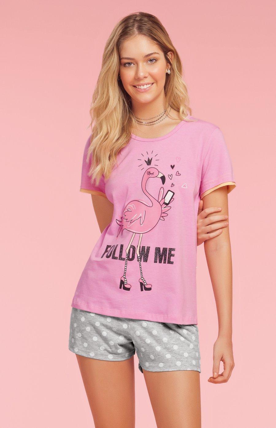 Short Doll 1/2 Malha Love Flamingo Verão 2019