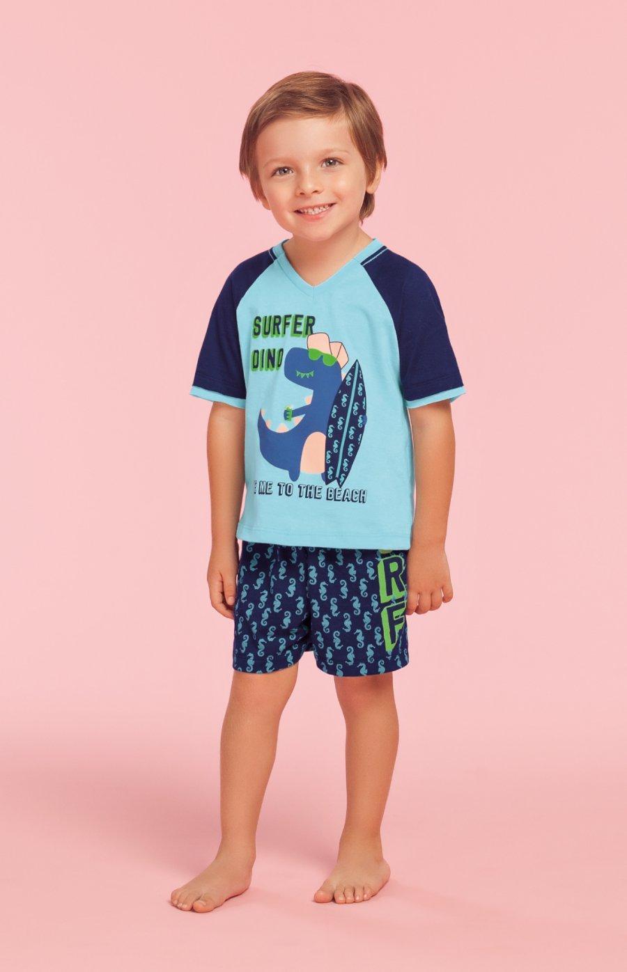 e84b65fb6 Pijama Baby 100% Algodão Surfer Dino Verão 2019