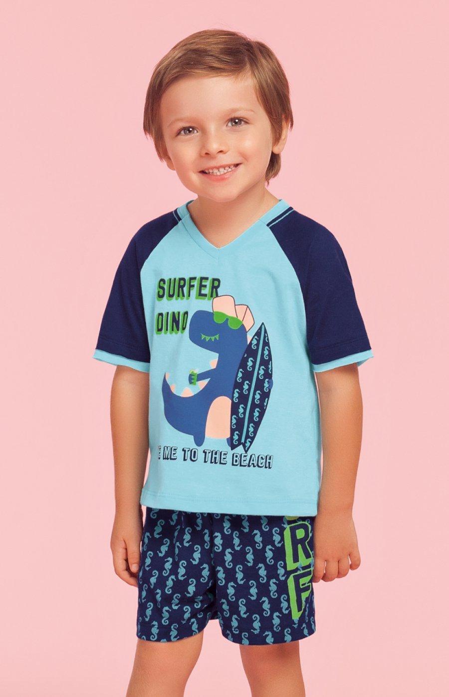 LIQUIDA Pijama Baby 100% Algodão Surfer Dino Verão 2019