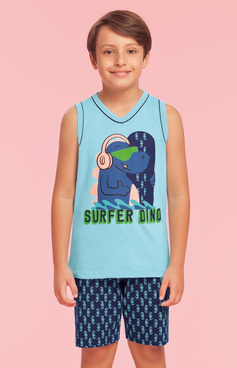 Pijama Infantil Masculino 100% Algodão Surfer Dino Verão 2019 PROMO