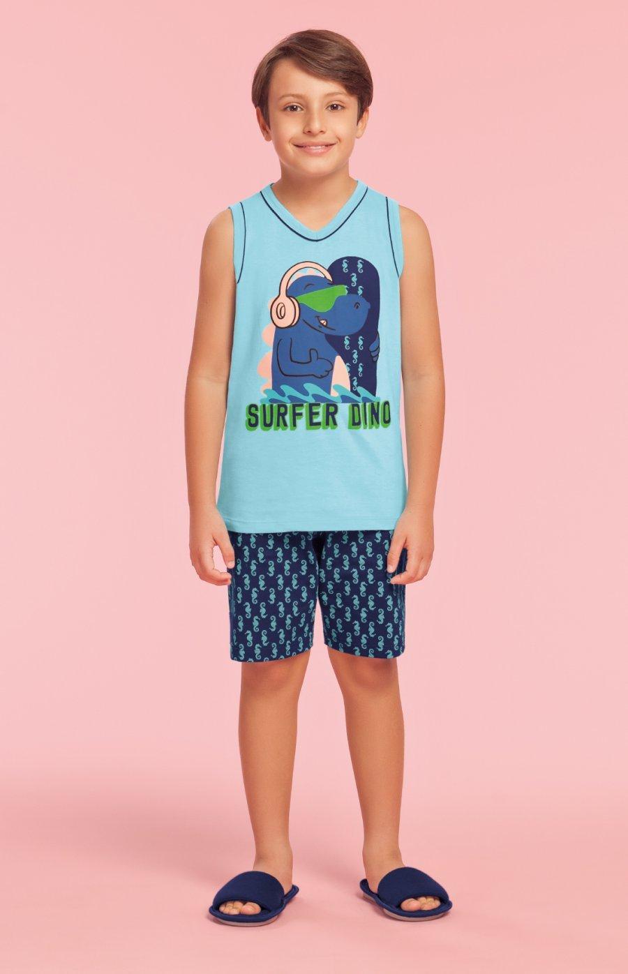 2352d0170 Pijama Infantil Masculino 100% Algodão Surfer Dino Verão PROMO 2019 ...