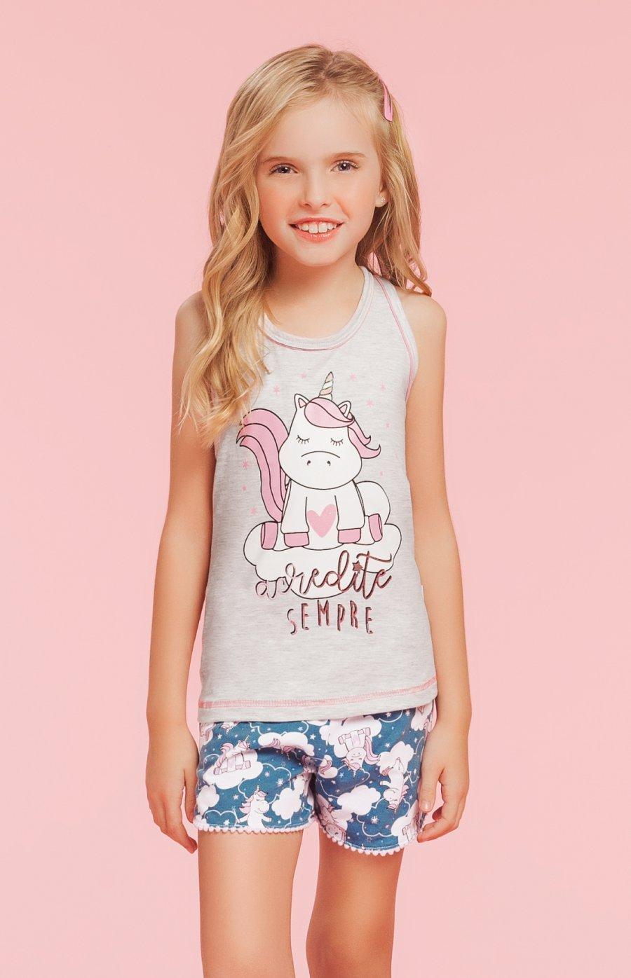 Short Doll Infantil 1/2 Malha Unicorn Forever Verão 2019