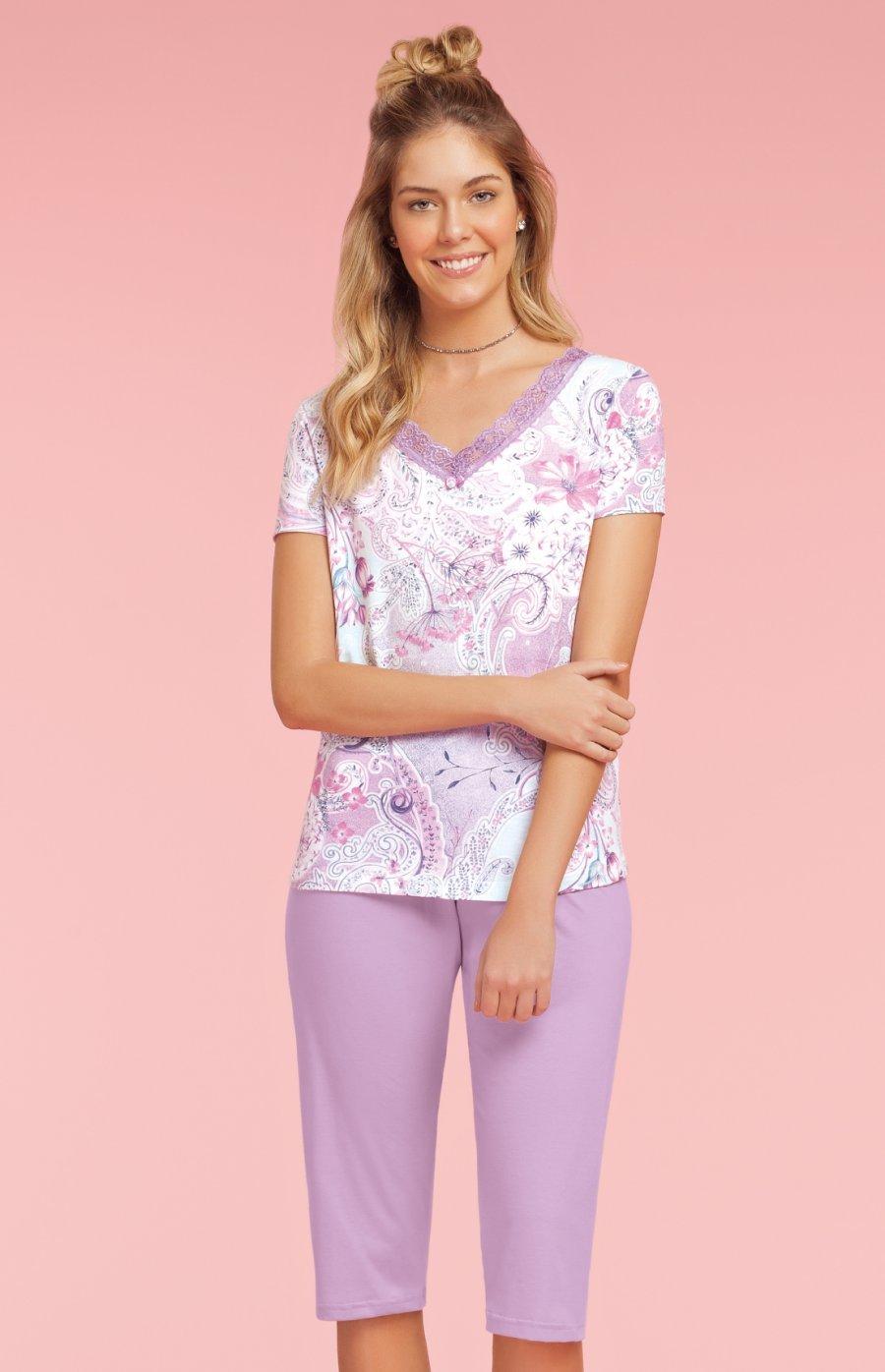Pijama Pescador Plus Size 100% Algodão Cashmere Verão 2019