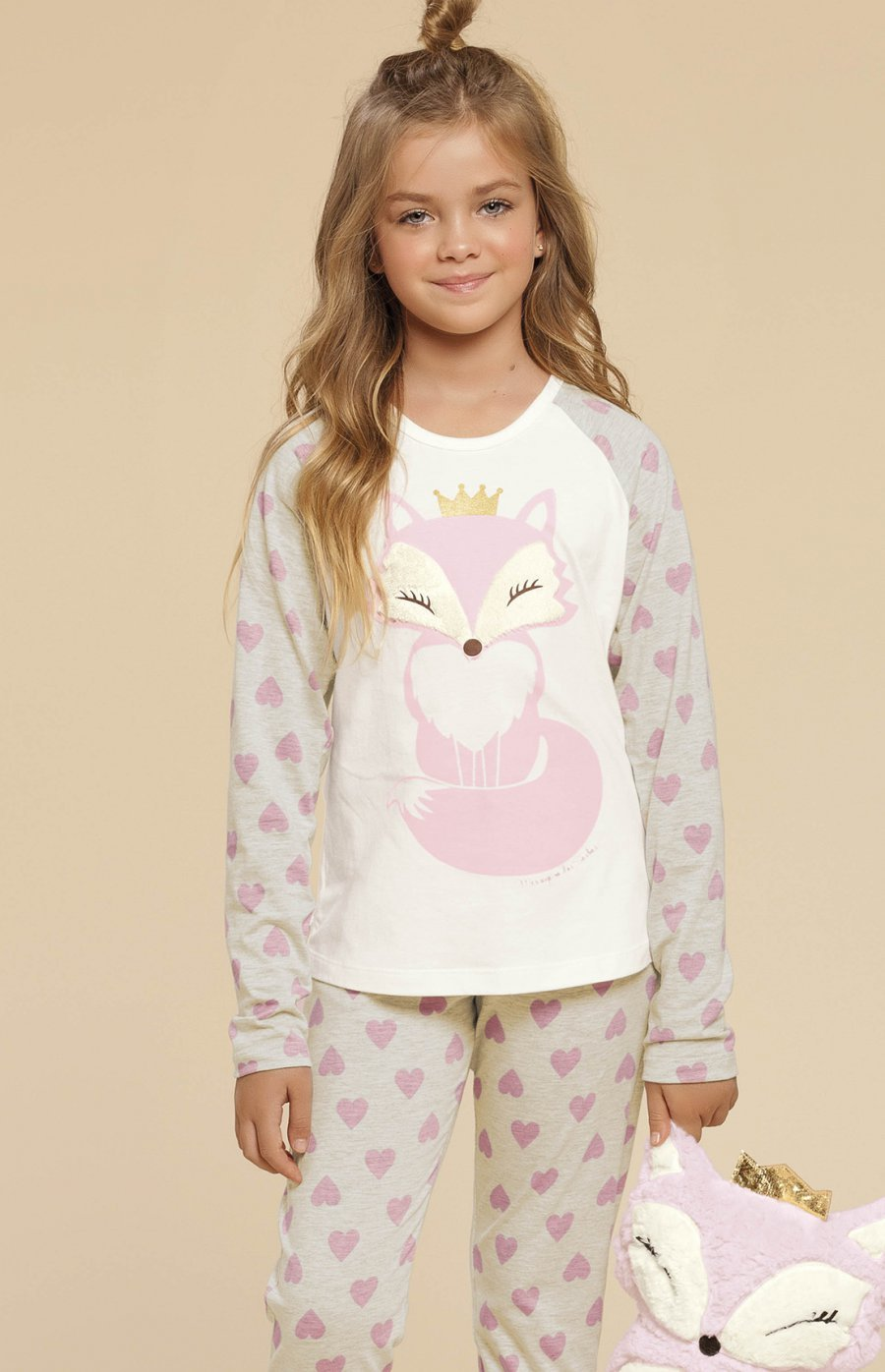 Pijama Infantil Meia Malha Com Calça Afunilada Raposinha Inverno 2019 CLOUD CLUB