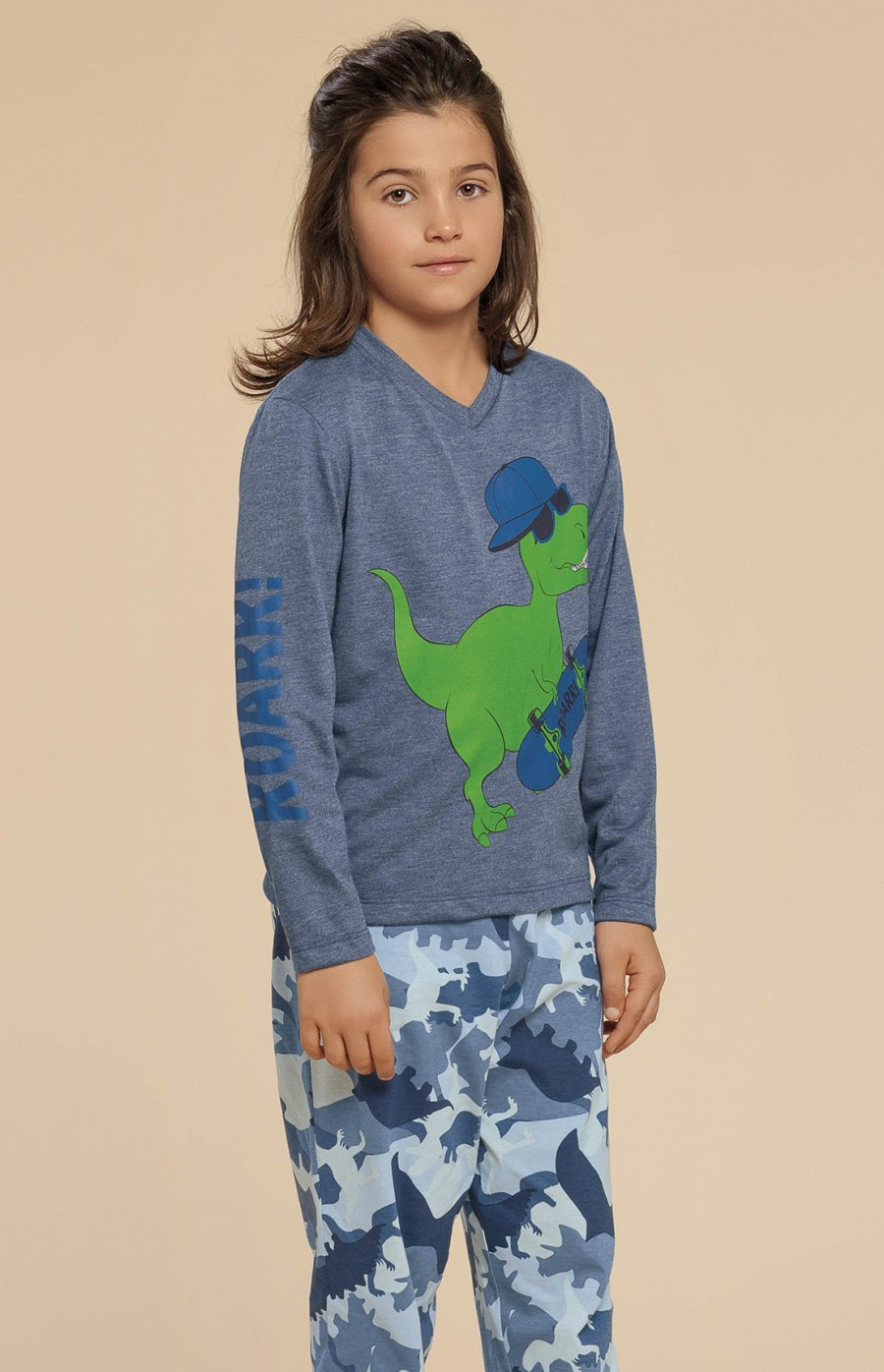 Pijama Infantil Meia Malha Dino Inverno 2019 CLOUD CLUB