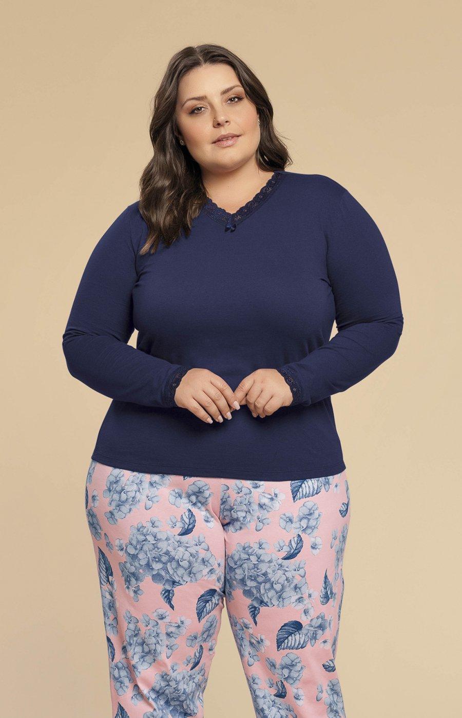 5b42165b5 Pijama Plus Size 100% Algodão Jardins Inverno 2019 CLOUD CLUB ...