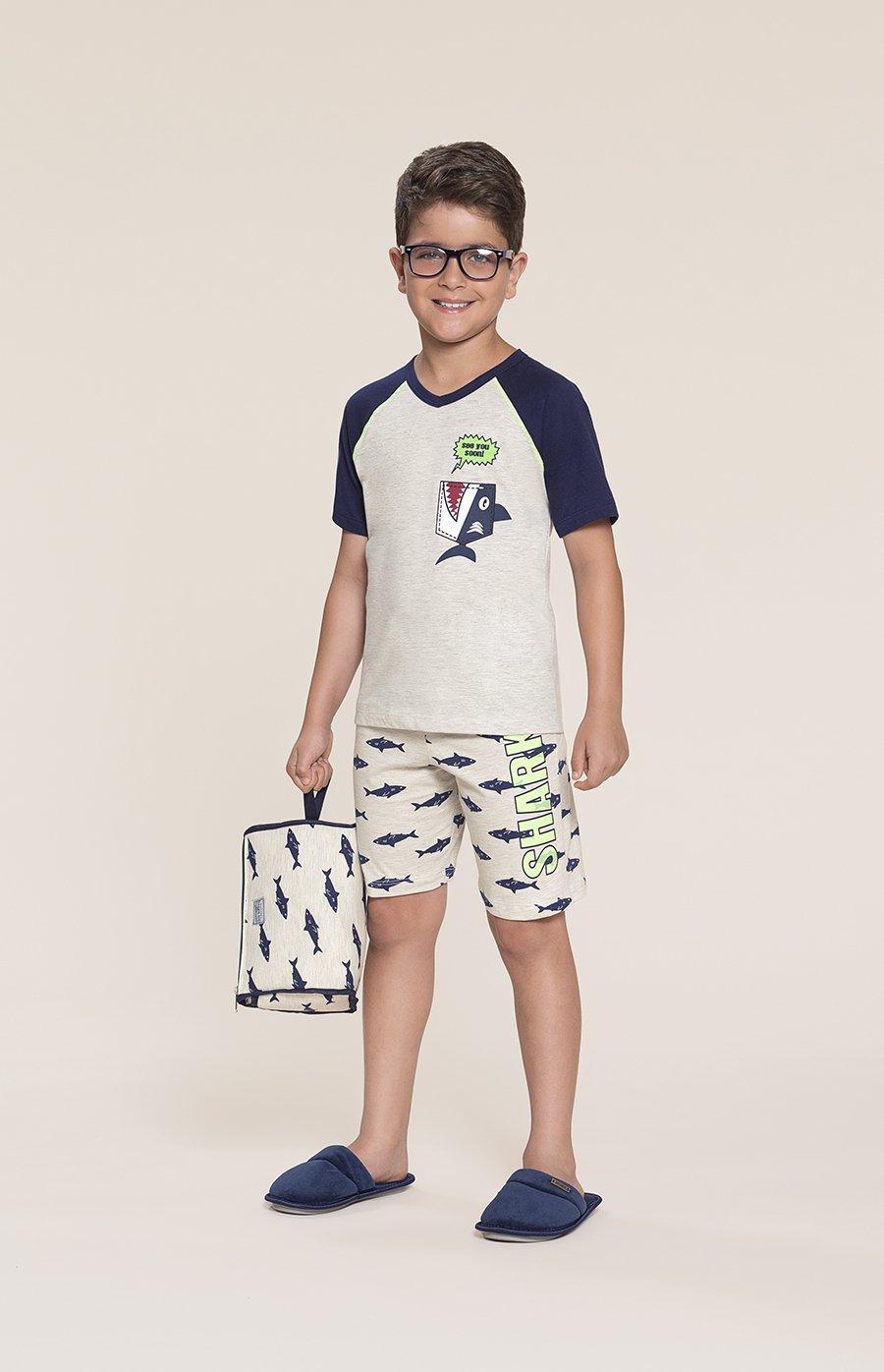 Pijama Infantil 1/2 Malha Shark Inverno 2020 SWEET STORIES