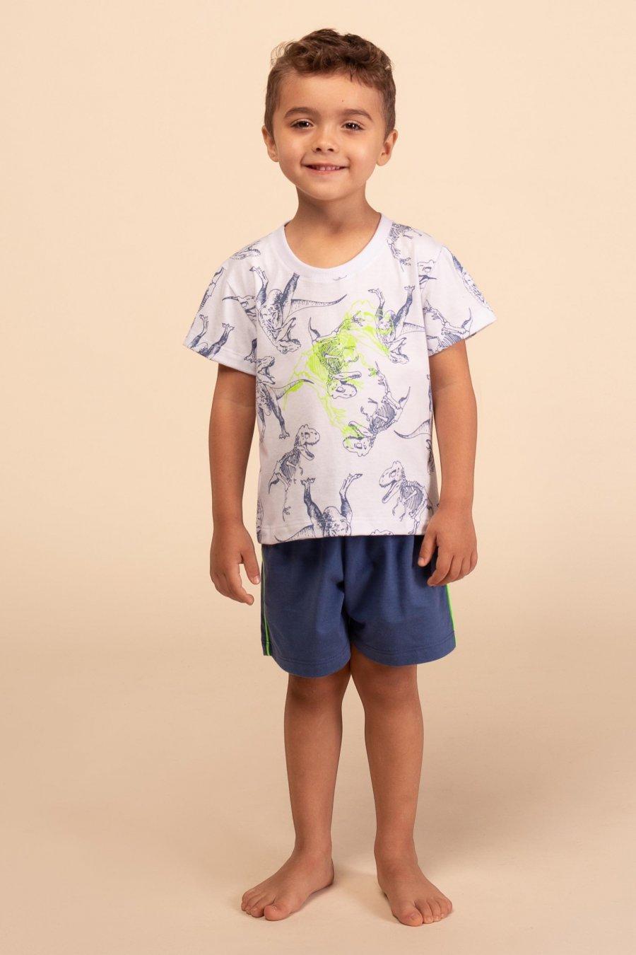 Pijama Baby 100% Algodão Dinossauro Happy Moments Verão
