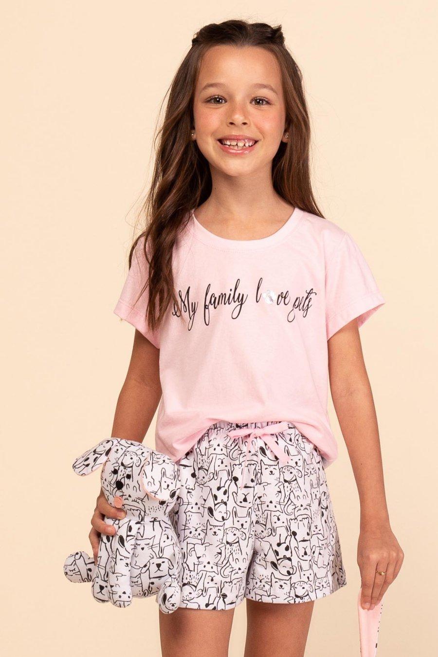 Short Doll Infantil 100% Algodão Friends Happy Moments Verão 2021