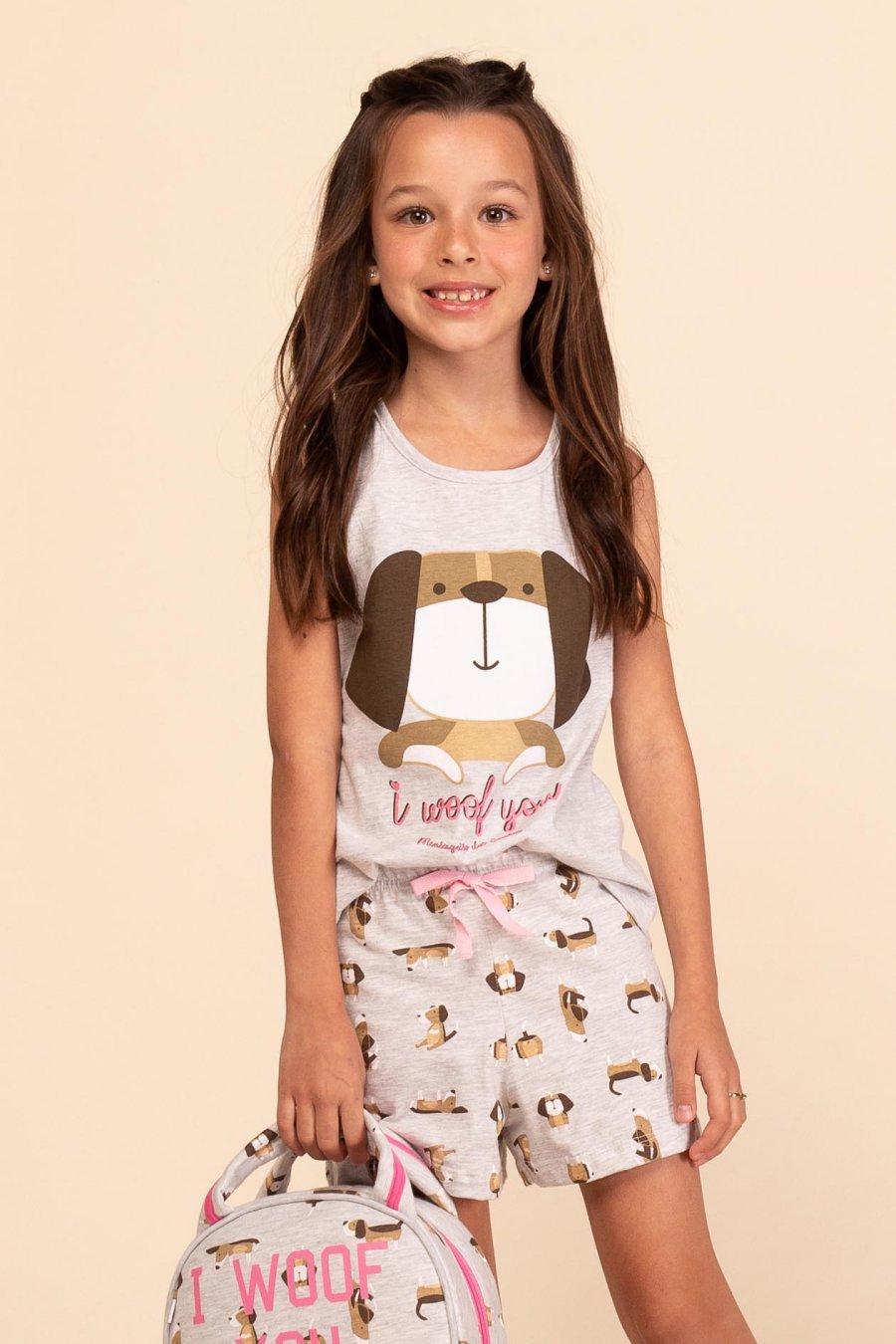 Short Doll Infantil 1/2 Malha Dog Happy Moments Verão