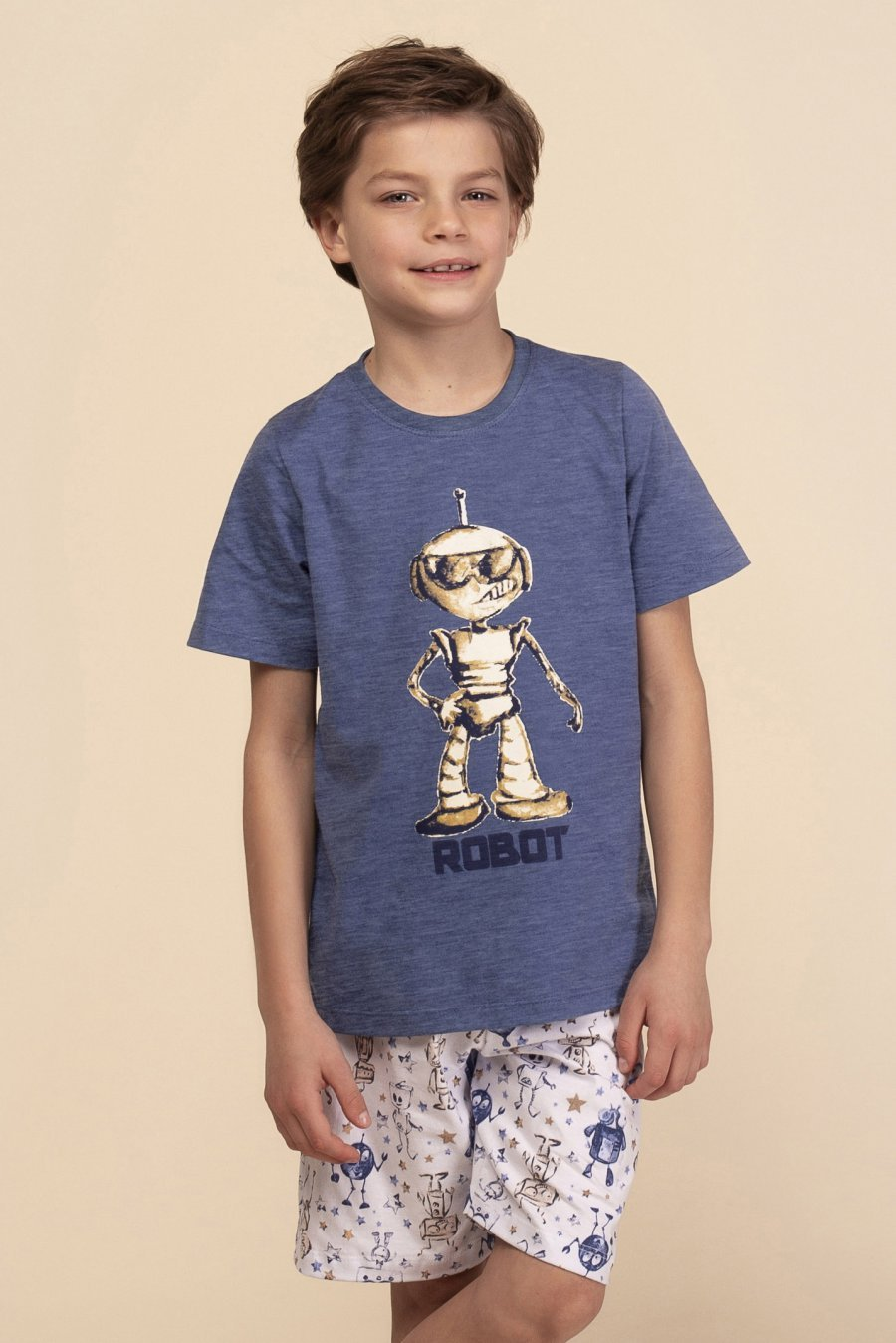 Pijama Infantil 1/2 Malha Robot Happy Moments Verão 2021