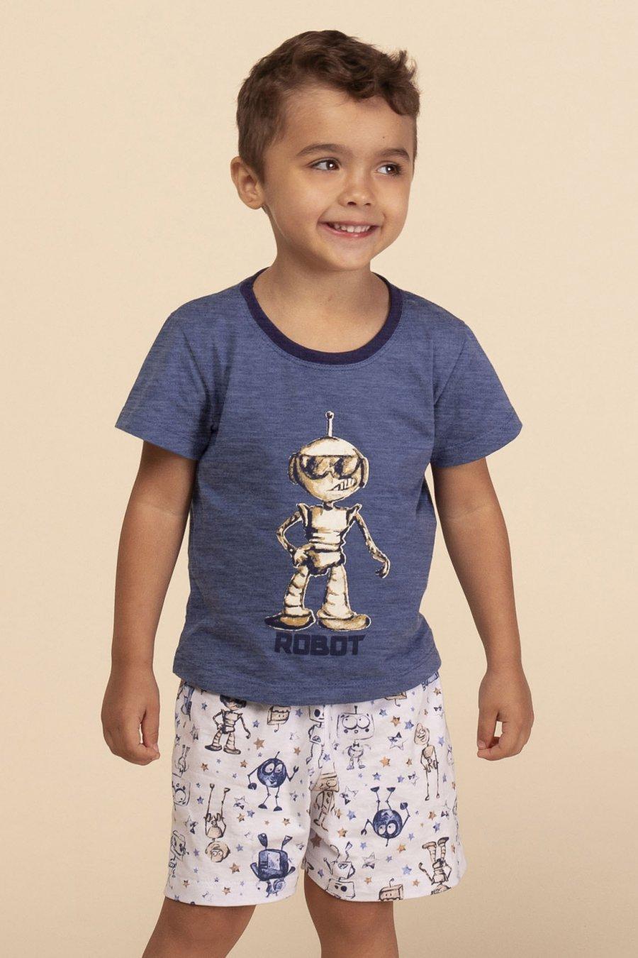 PROMO Pijama Baby 1/2 Malha Robot Happy Moments Verão MDS