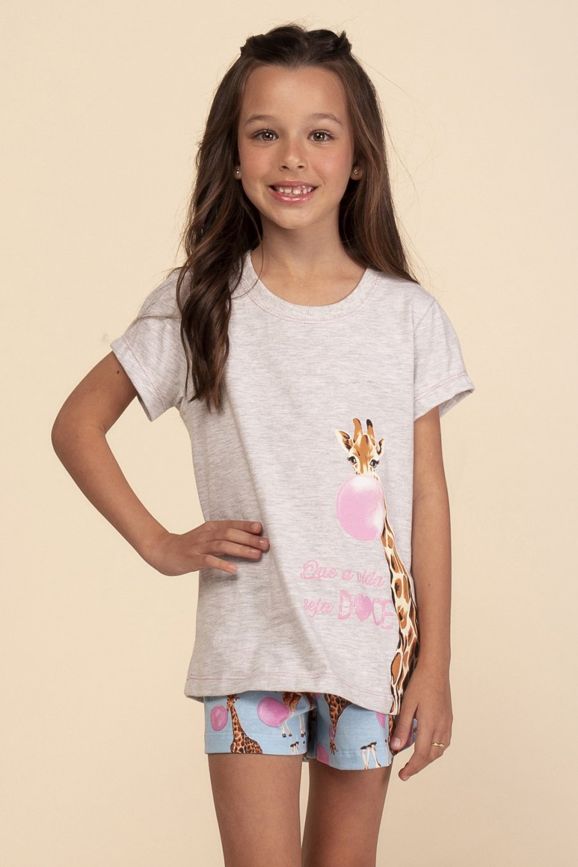 Short Doll Infantil 1/2 Malha Doce Girafa Happy Moments Verão