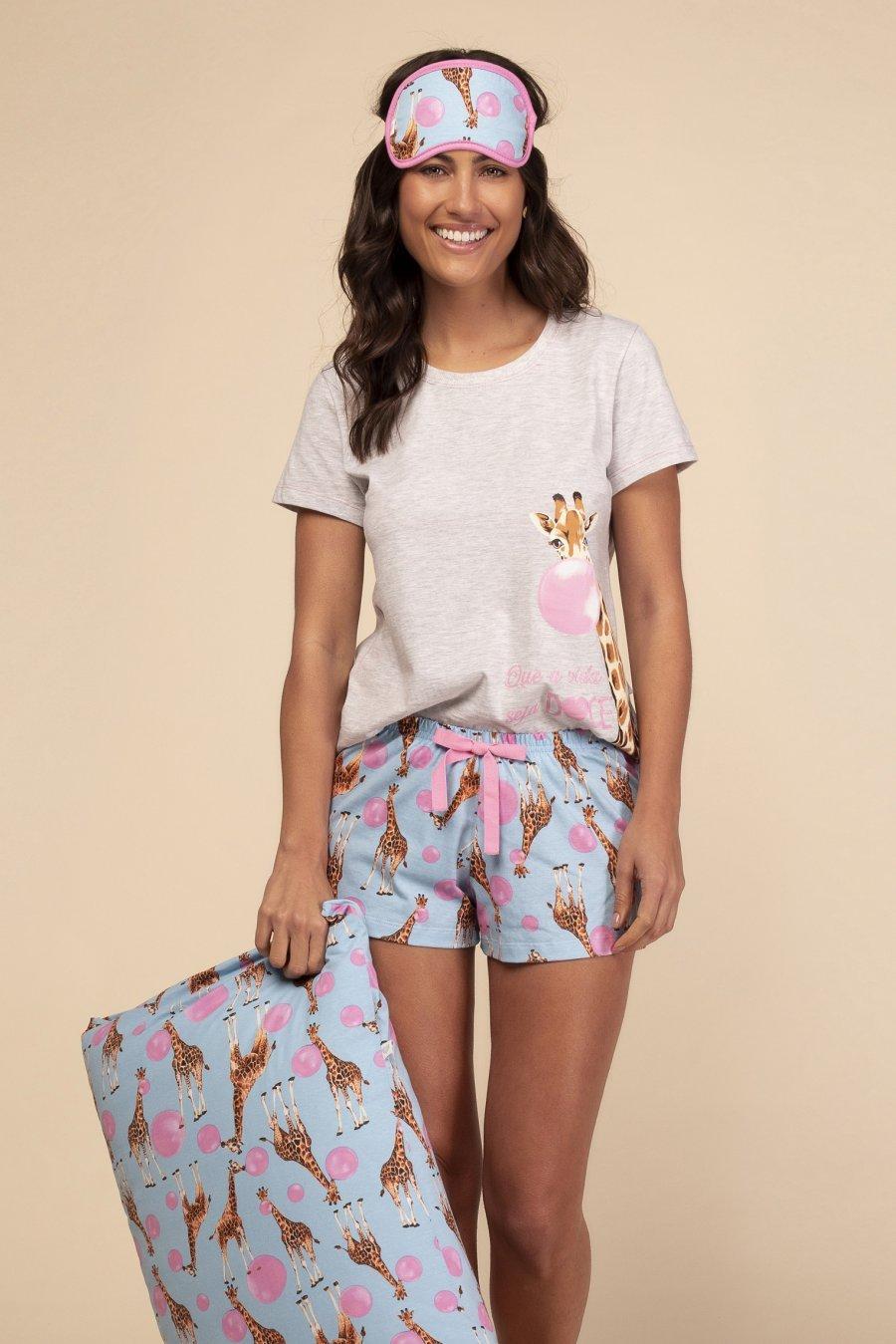 Short Doll 1/2 Malha Doce Girafa Happy Moments Verão 2021