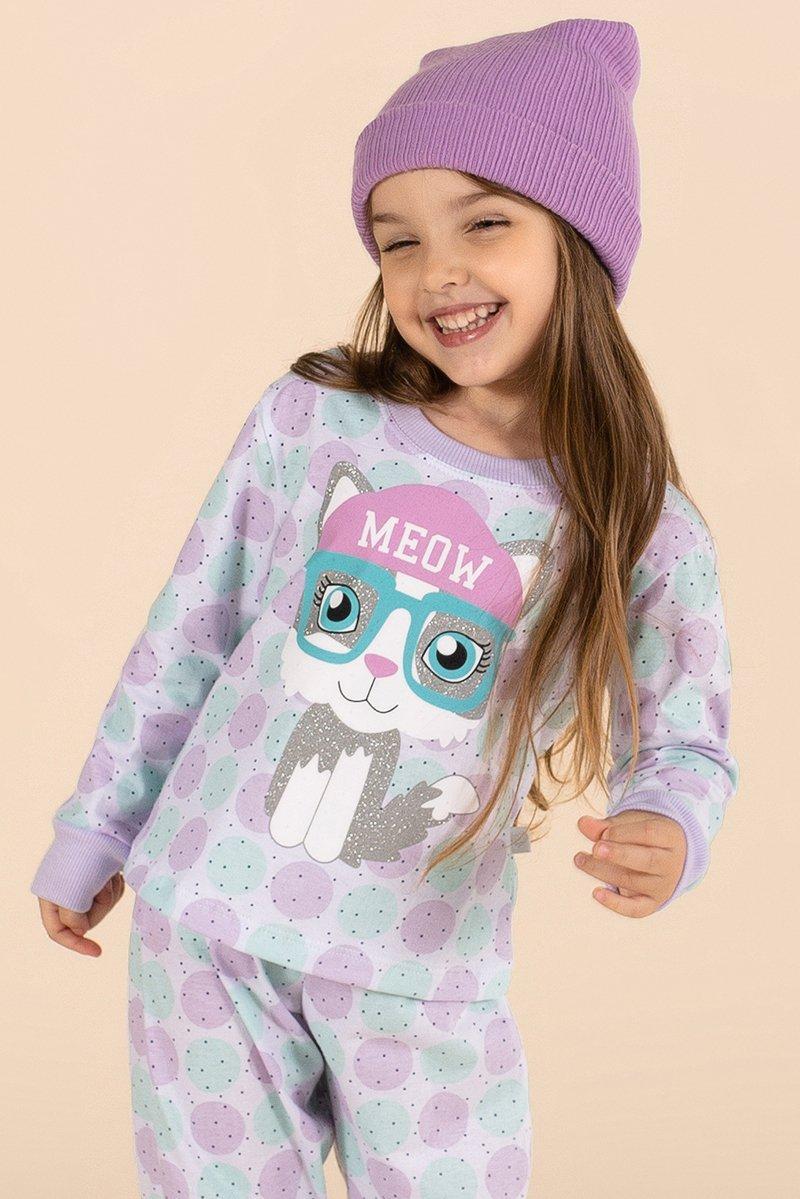Pijama Infantil 100% Algodão Gatinha A Princesa Moderna Inverno MDS