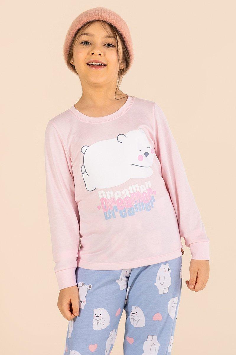 Pijama Infantil Moletinho Sem Felpa Urso Polar A Princesa Moderna Inverno MDS