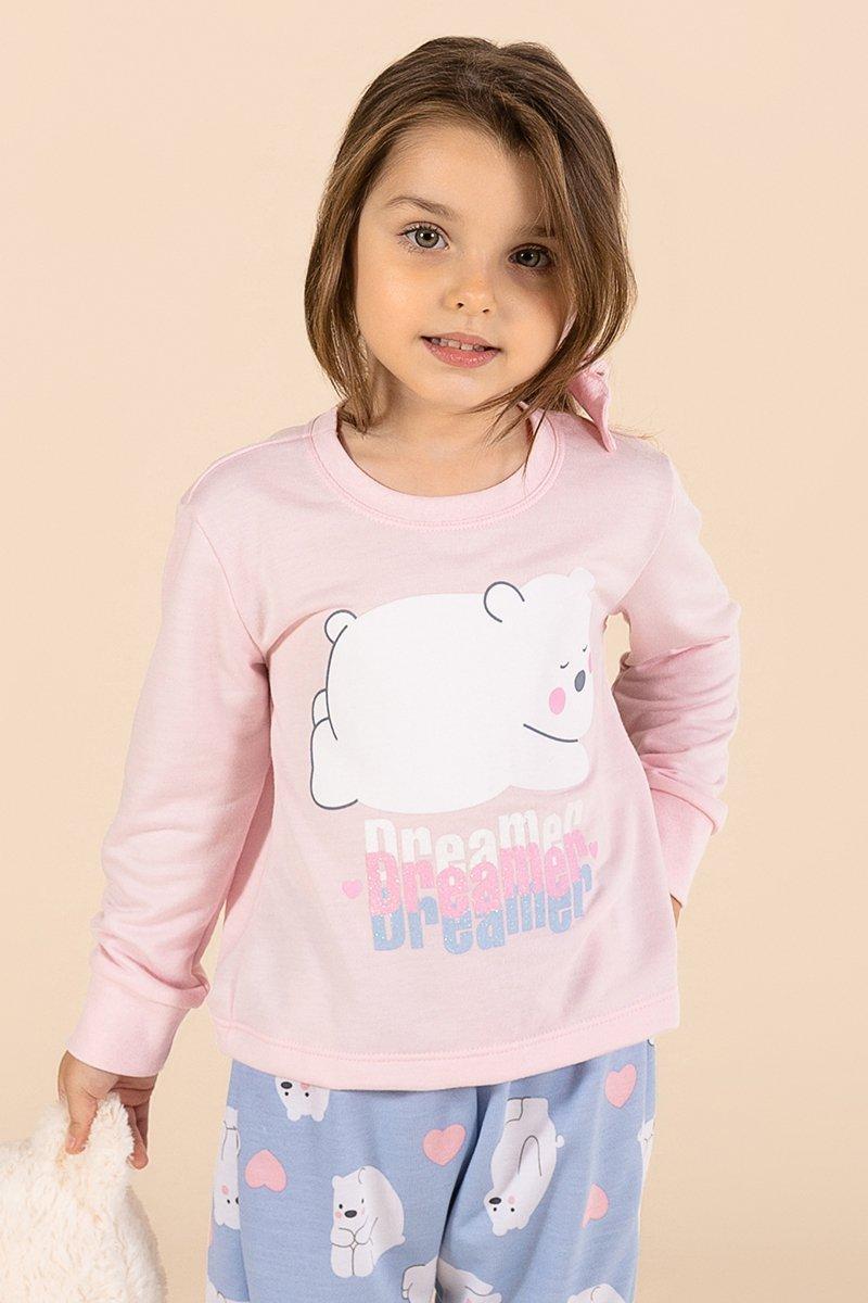 Pijama Baby Moletinho Sem Felpa Urso Polar A Princesa Moderna Inverno MDS