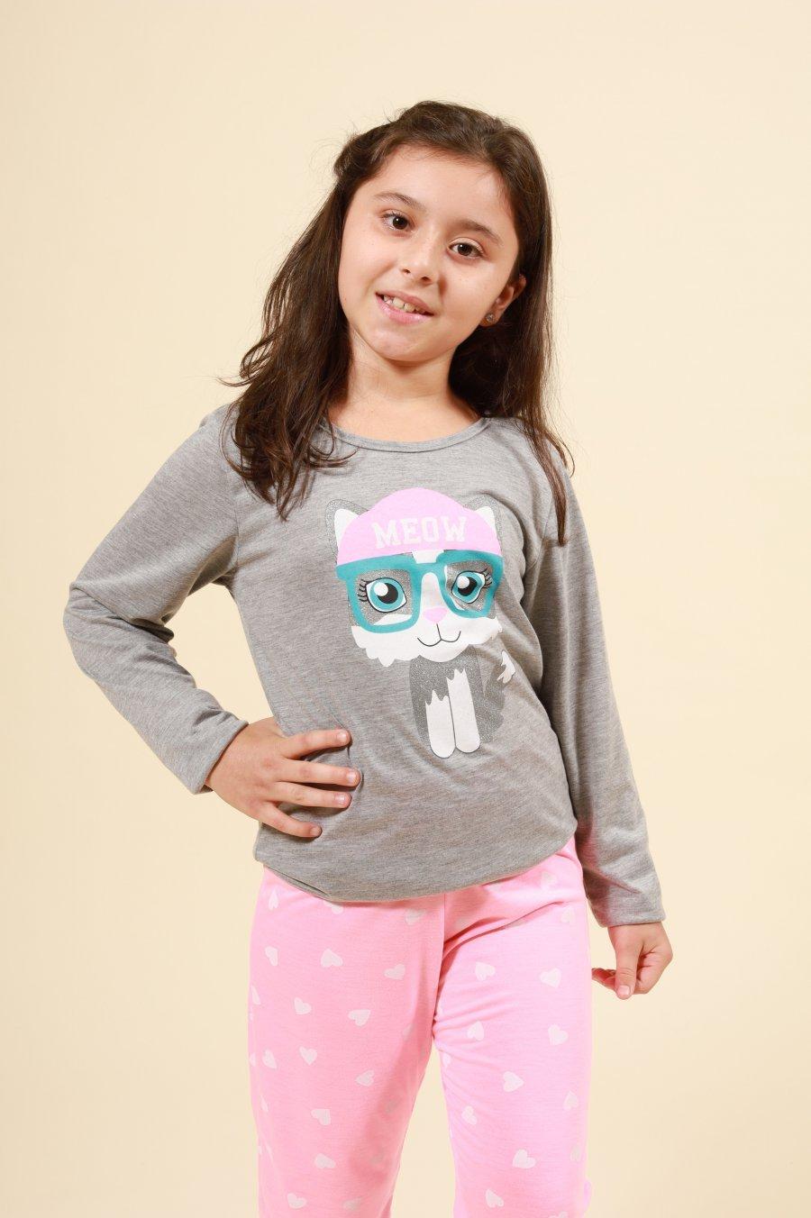 LANÇAMENTO Pijama Infantil 1/2 Malha Meow Mensageira da Paz Inverno 21