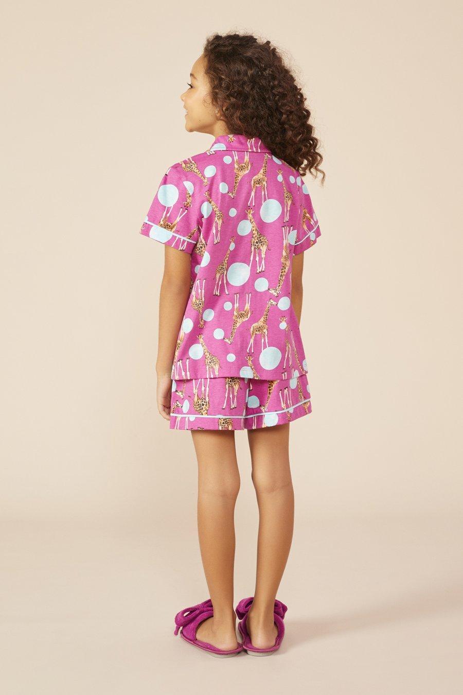 LANÇAMENTO Short Doll Infantil 100% Algodão Girafa Mundo dos Sonhos Primavera Verão 22 MDS