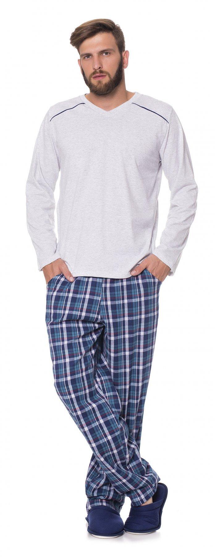 Pijama Longo Masculino Adulto Blusa 1/2 Malha Calça Flanela Casual