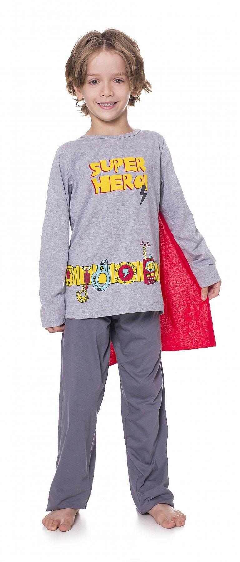 Pijama Infantil Meia Malha com Máscara Herói