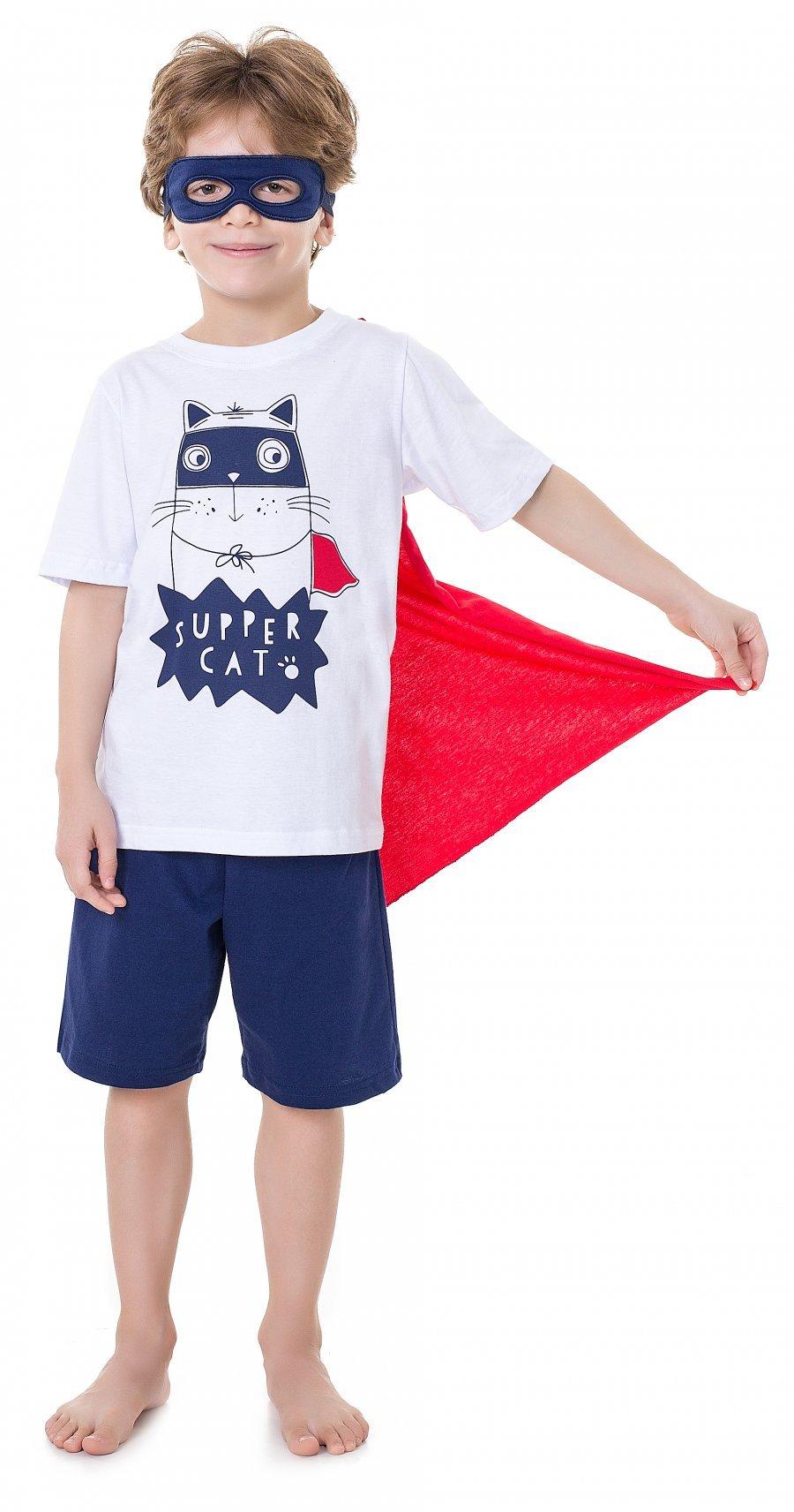 Pijama Infantil Super Cat Verão 2017 (com Máscara de Brinde e Capa Removível)
