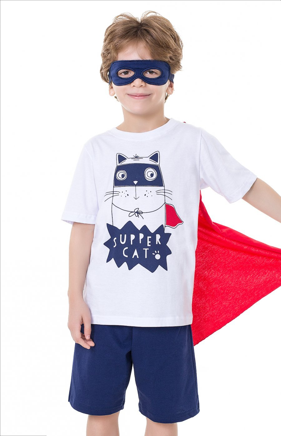 Pijama Infantil Super Cat (com Máscara de Brinde e Capa Removível)