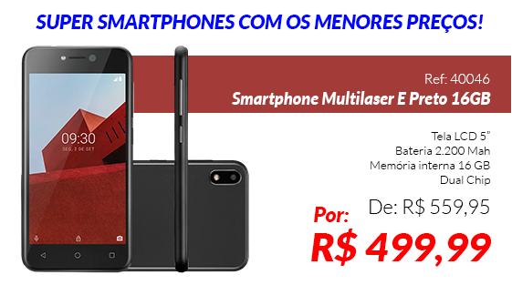 Smartphone Multilaser E Preto 16GB