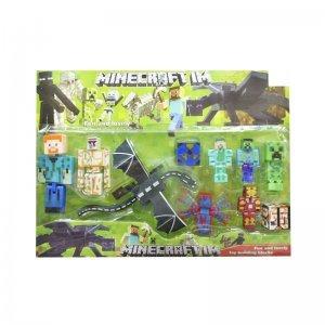 Cartela Bonecos Minecraft e Itens - 10 Peças