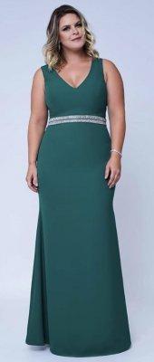 000aa6ed5 Vestido longo c/ cinto de strass plus size