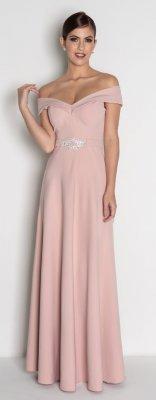 7ed42453a Vestido longo rosê c/ fivela de strass