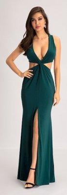 963663e20 Vestido longo c/ decote verde escuro