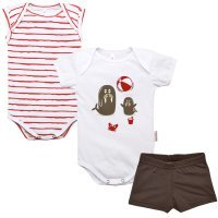 Kit Body Regata, Body Manga Curta e Short Nigambi Foquinha Branco