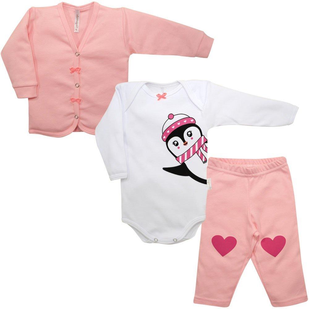 Kit Cardigan, Body e Calça Suedine Nigambi Pinguinzinha Rosa e Branco