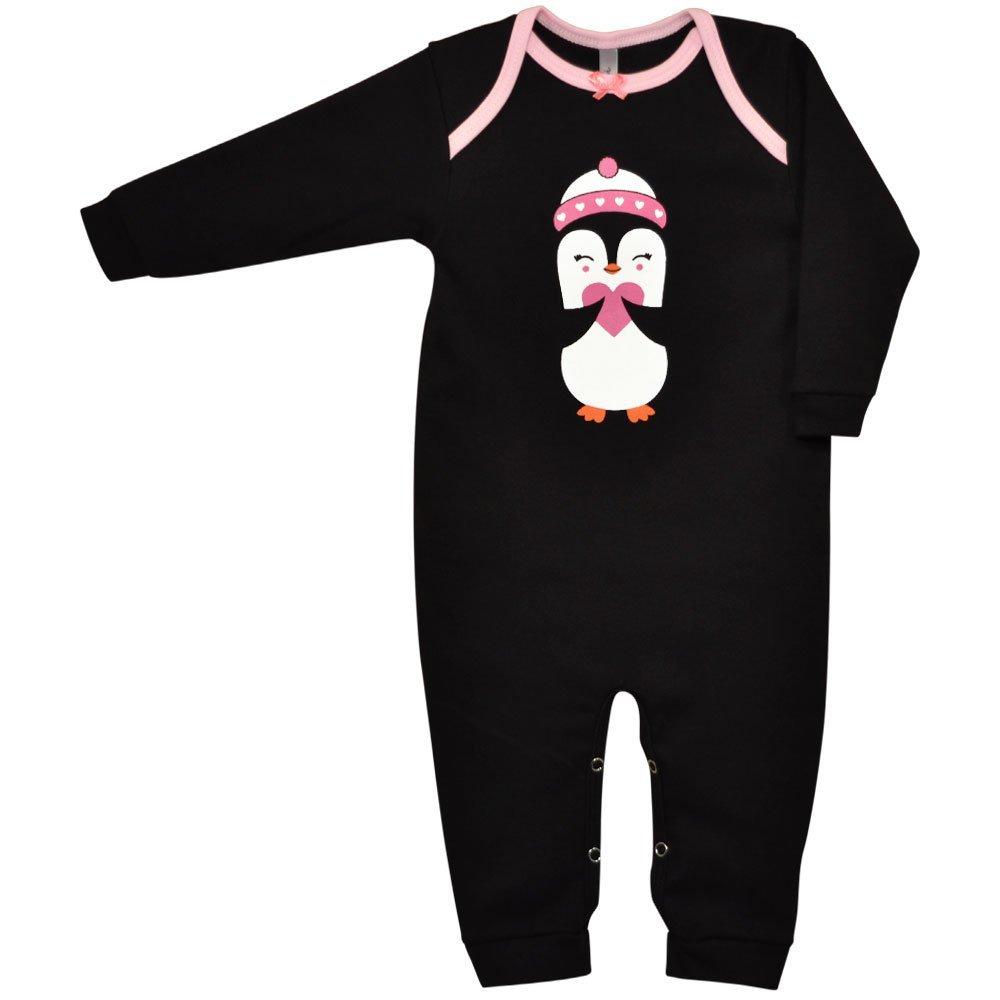 Macacão Longo Suedine Nigambi Pinguinzinha Preto