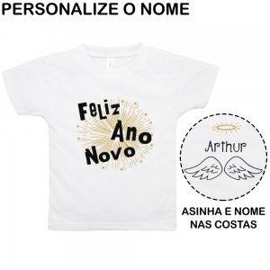 Camiseta Primeiros Passos Ano Novo Personalizado Nigambi Branco Menino