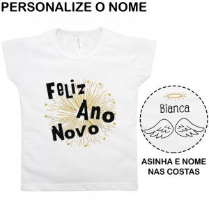Blusa Primeiros Passos Ano Novo Personalizado Nigambi Branco Menina