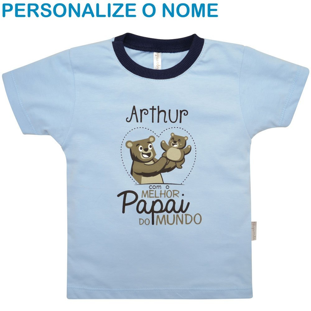 Camiseta Primeiros Passos Melhor Papai do Mundo Personalizado Nigambi Azul Menino