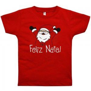Camiseta Manga Curta Primeiros Passos Nigambi Feliz Natal Vermelho