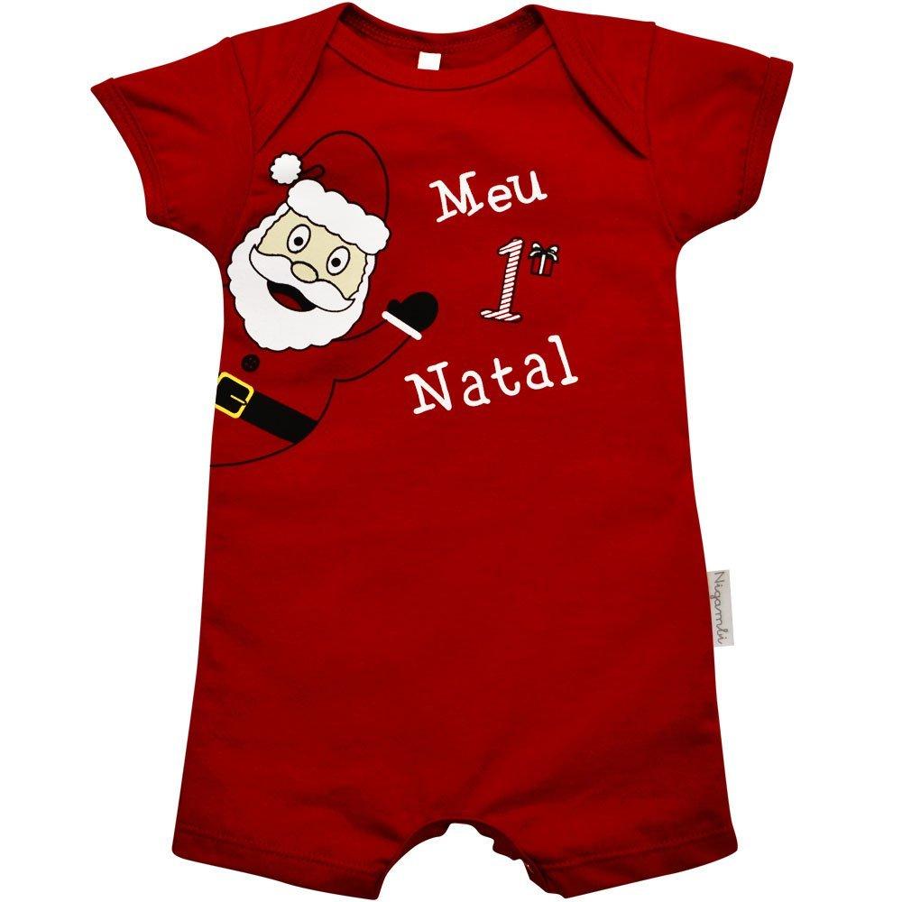 Macacão Curto Papai Noel Meu 1º Natal Nigambi Vermelho