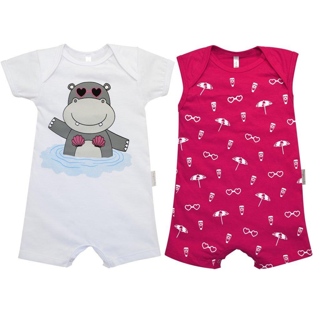 Kit Macacão Curto e Macacão Curto Regata Hipopótamo Nigambi Branco e Pink
