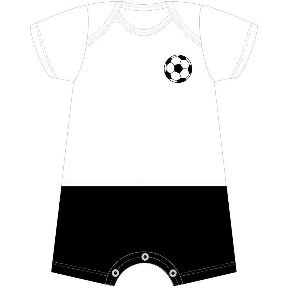 Macacão Curto Futebol Com Nome Personalizado Nigambi Branco e Preto