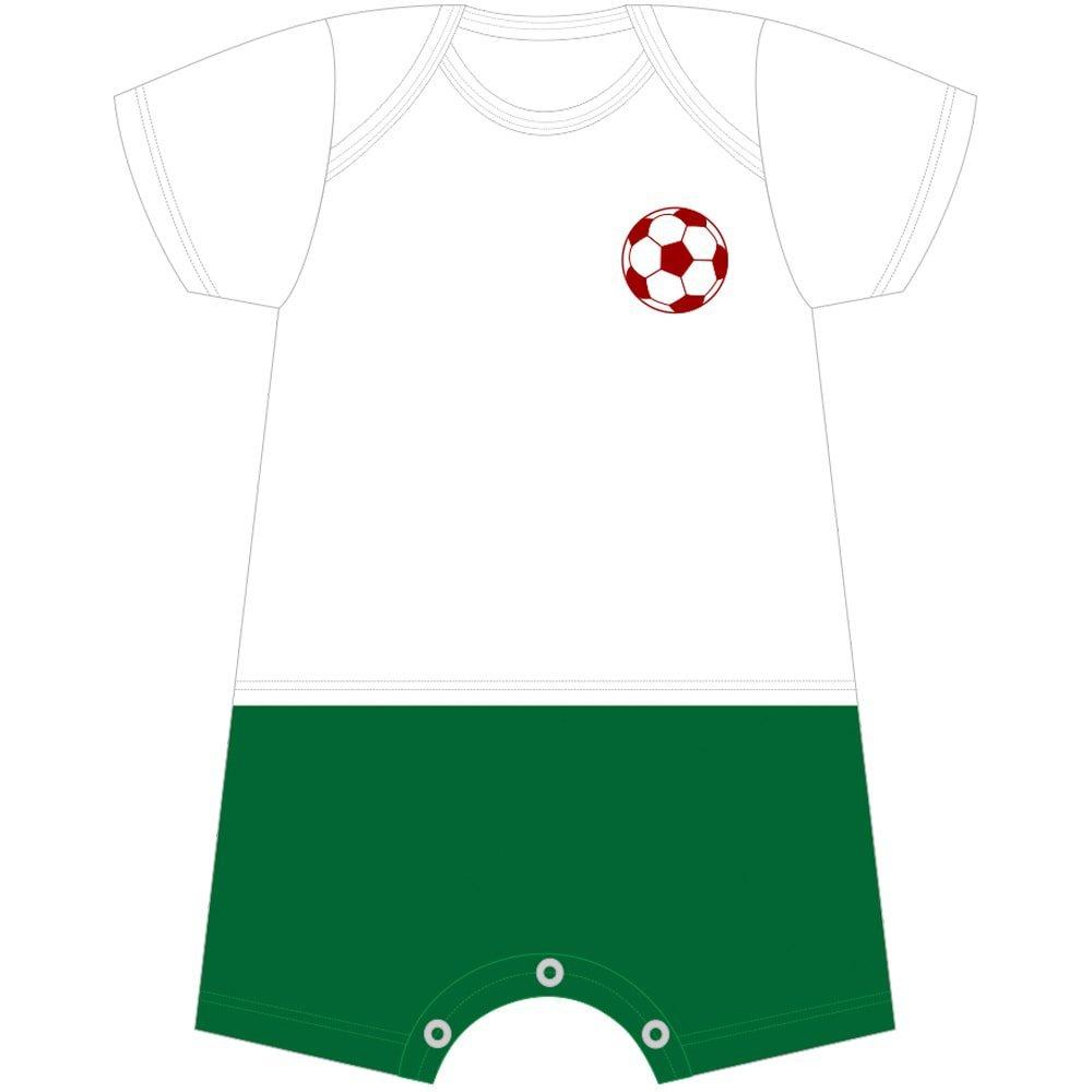 Macacão Curto Futebol Com Nome Personalizado Nigambi Branco e Verde