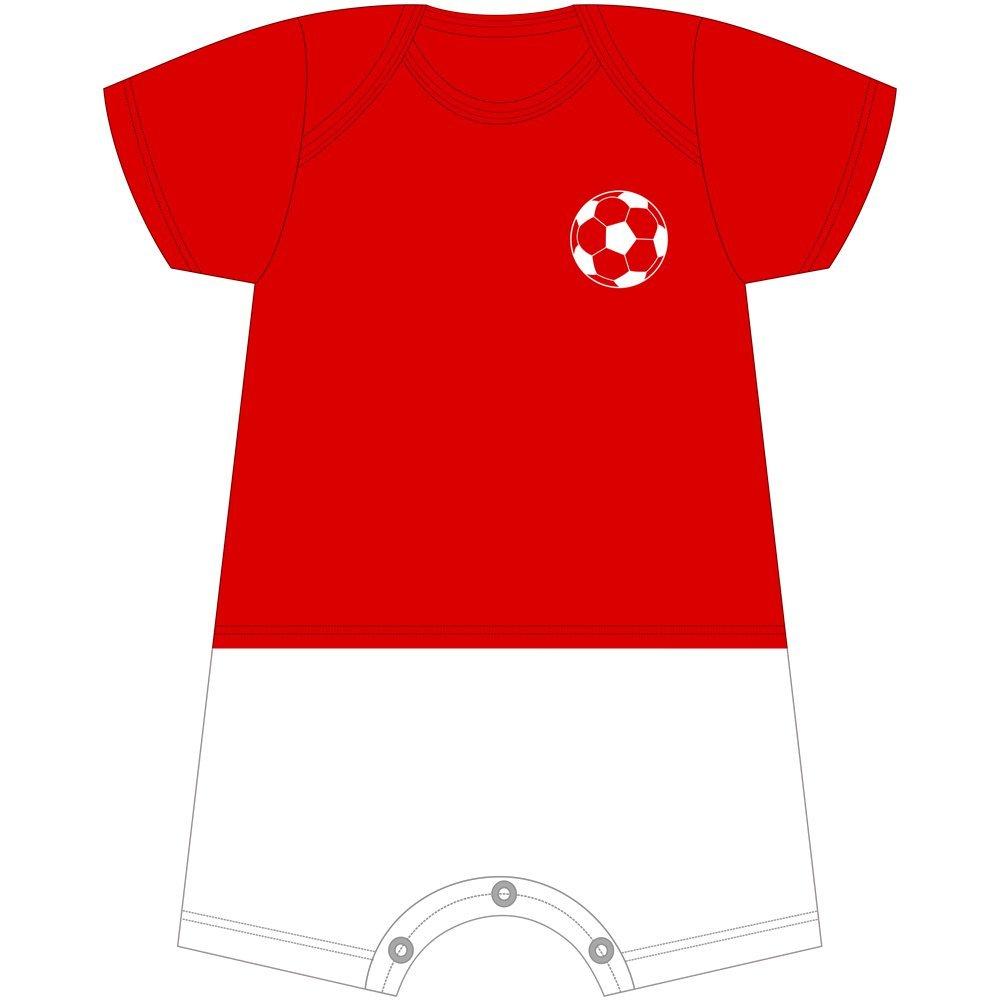 Macacão Curto Futebol Com Nome Personalizado Nigambi Vermelho e Branco