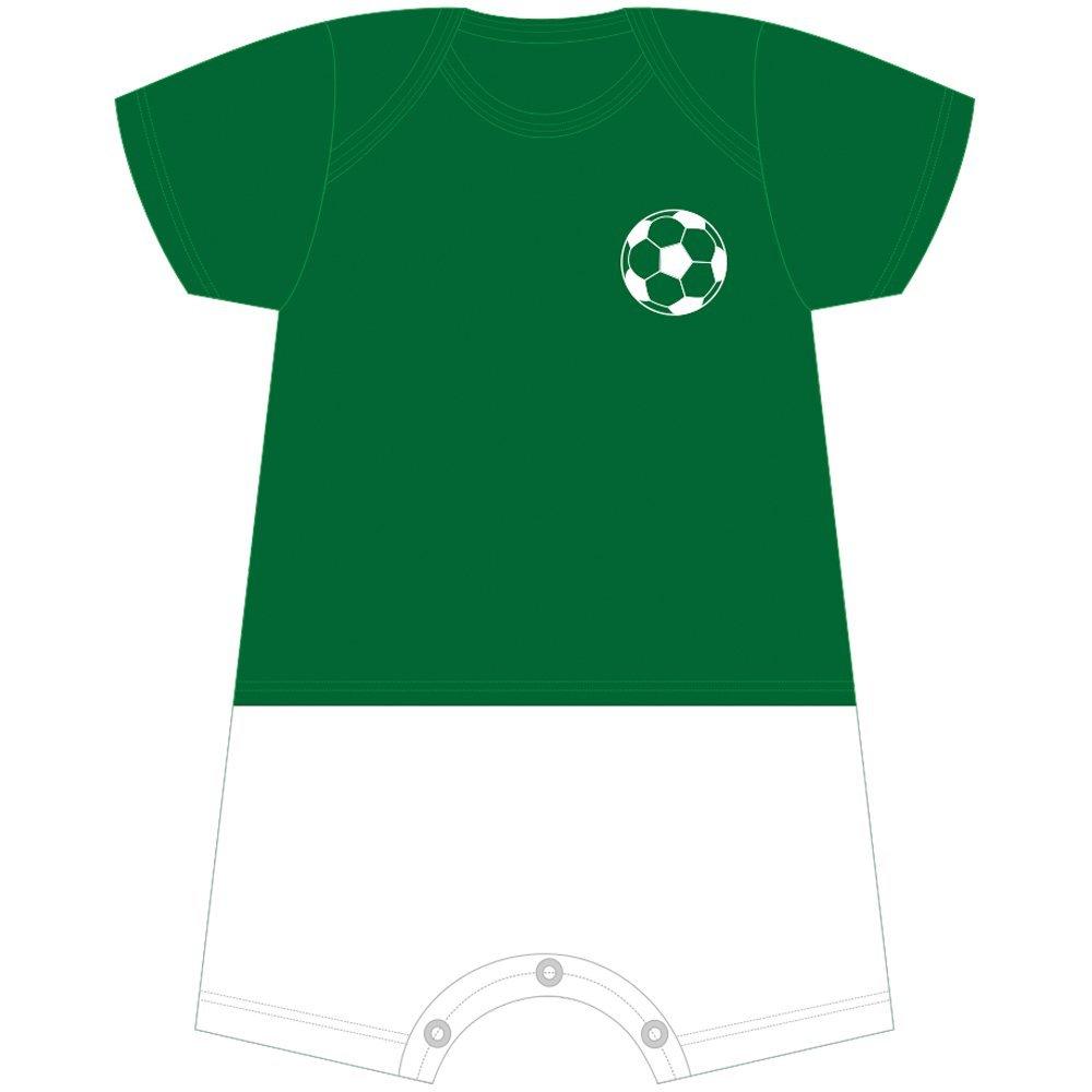 Macacão Curto Futebol Com Nome Personalizado Nigambi Verde e Branco