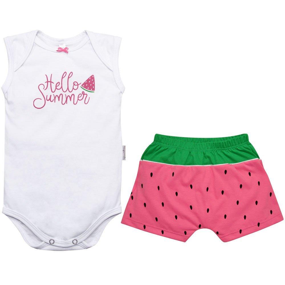 Kit Body Regata e Short Summer Nigambi Branco e Pêssego