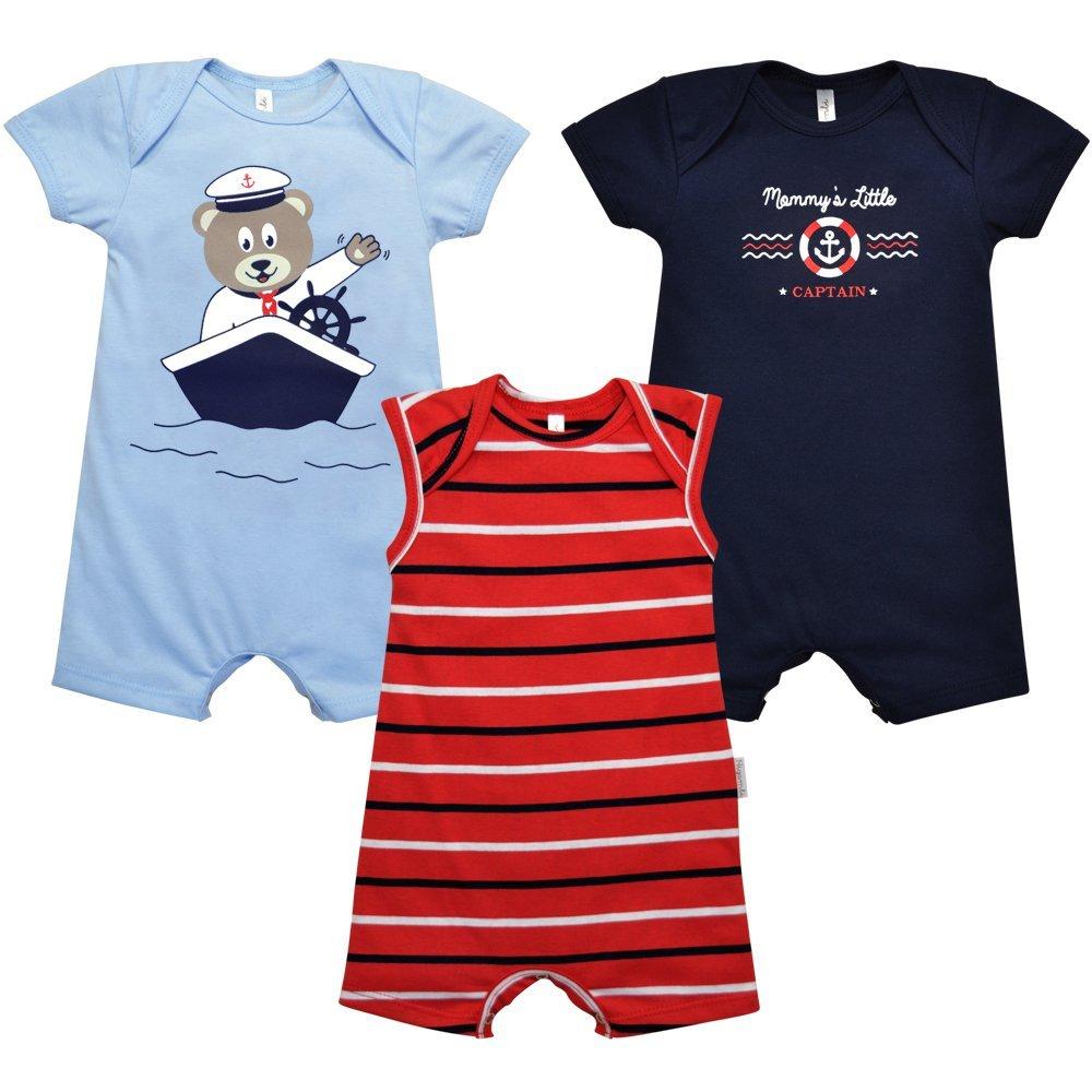 Kit 2 Macacões Curtos e 1 Macacão Curto Regata Marinheiro Nigambi Azul Bebê, Marinho e Listrado