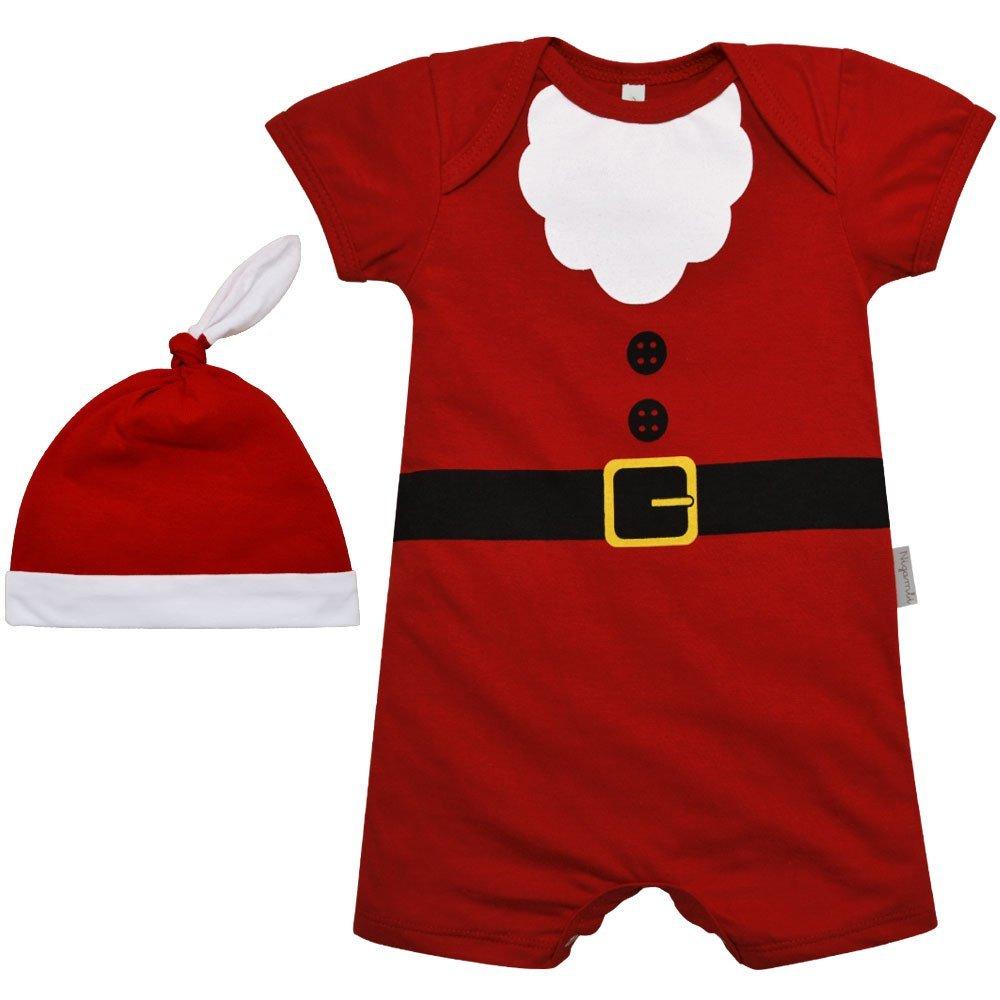 Kit Macacão Curto e Gorro Nigambi Natal Papai Noel Vermelho