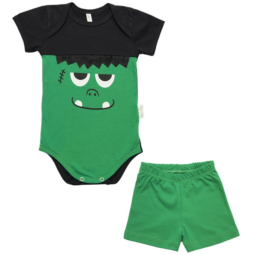 Kit Body Manga Curta e Shorts Nigambi Monstrinho Verde